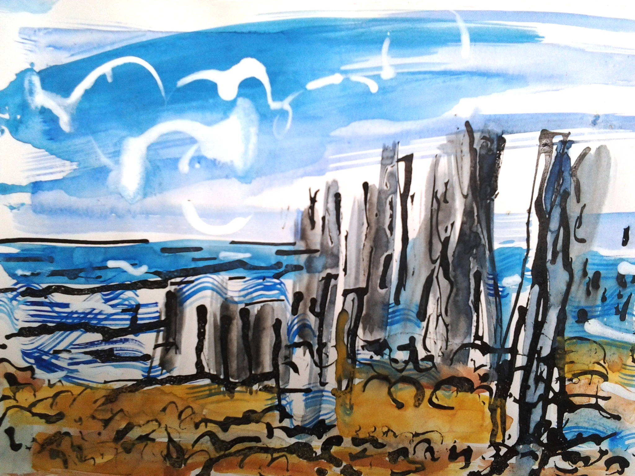 Coast Beach Seasalter Sea Painting Landscape
