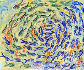 Fish Swirl Pattern Sea Painting