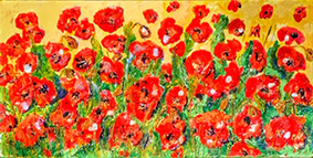 Poppies Flowers Painting Landscape