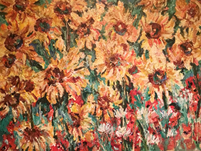Landscape Flowers Painting Sunflower