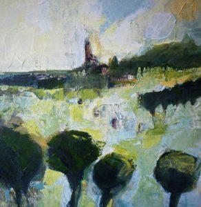 Landscape Art Painting Trees Town