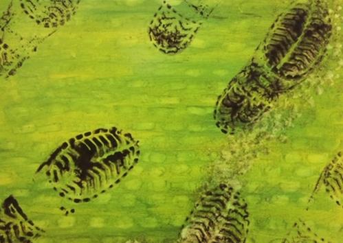 Footprints Steps Human Landscape Painting Artwork