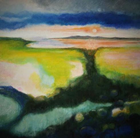 Landscape Art Sun Green Painting