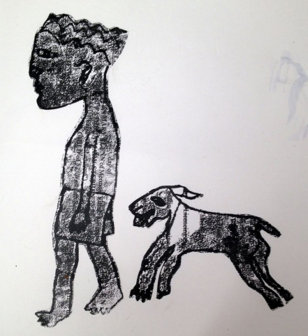 Sketch Art Picture Person Dog Mono