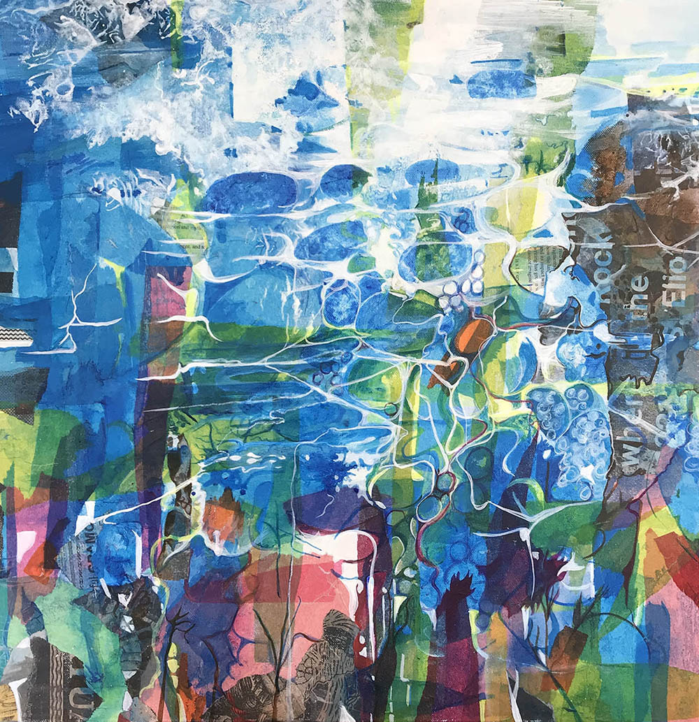 Blue Colour Painting Artwork Pattern Collage