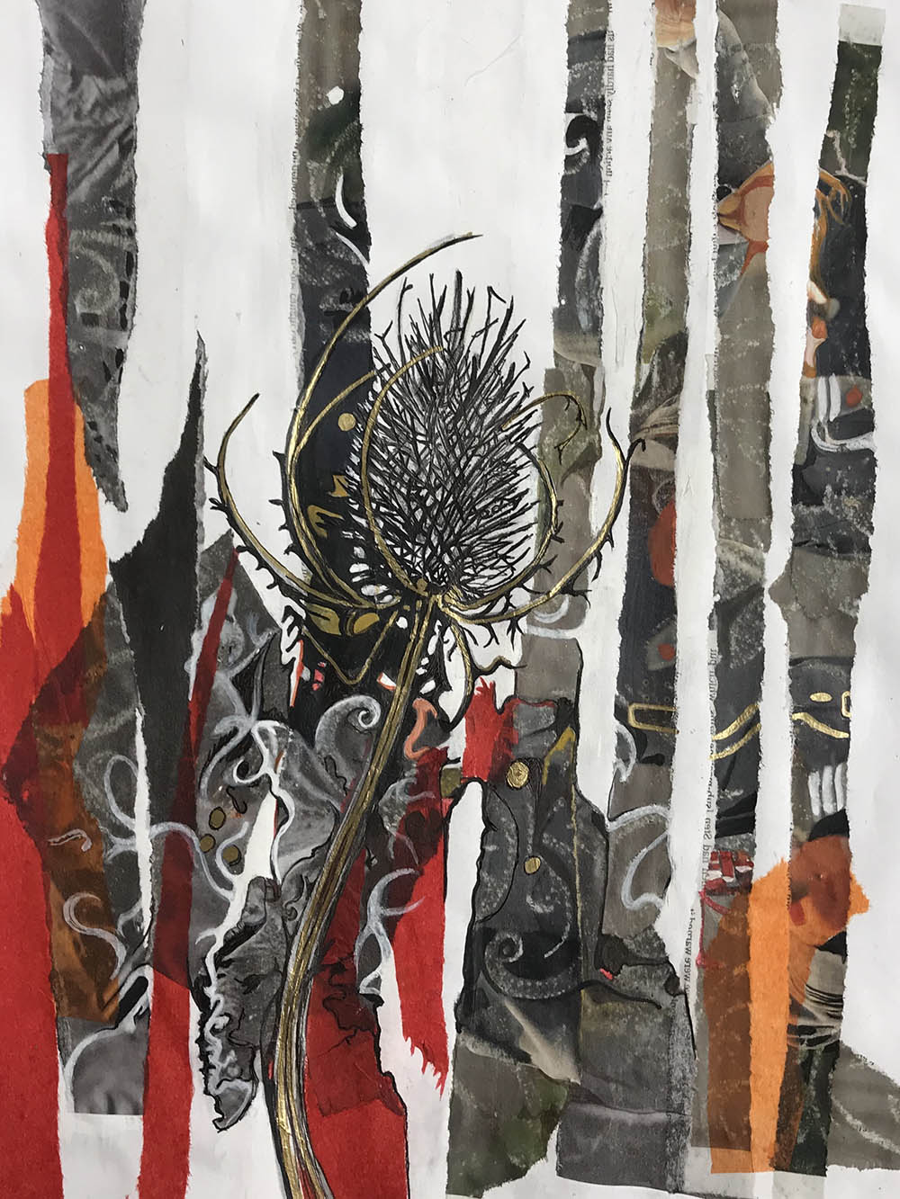 Flower Nature Spike Collage Paint Red Dark Artwork