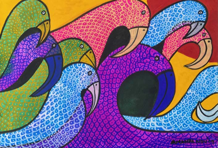'The Pecking Parotts' 70.5cms x 54cms  gouache on watercolour paper £190 Framed
