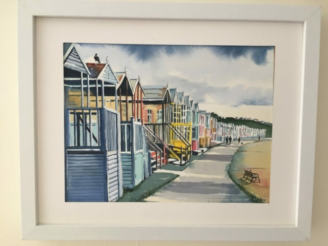 'Beach Huts with crow, Tankerton' framed original water colour, 40cm x 32cm, £200
