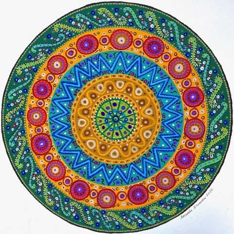 'Mandala 1' 65.5cm x65.5cm, Framed Acrylic Gouache on watercolour paper £300