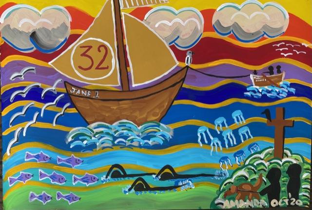 Jane 1 70.5cms x 54cms Acrylic Gouache £190 Framed