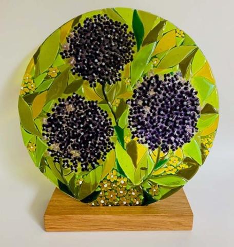 'Elderberry' fused glass roundel, 30cm diameter on oak stand
