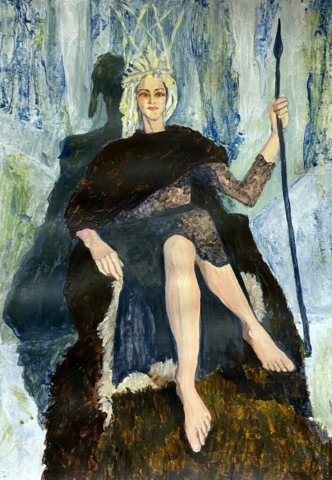'Evil Ice Queen' acrylic on paper, painting A3, mount 40cm x 50cm, unframed