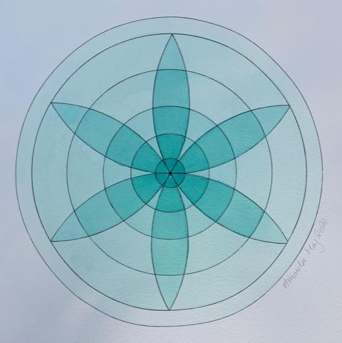 'Green Mandala' Watercolour on watercolour paper 49cms x 49cms £90