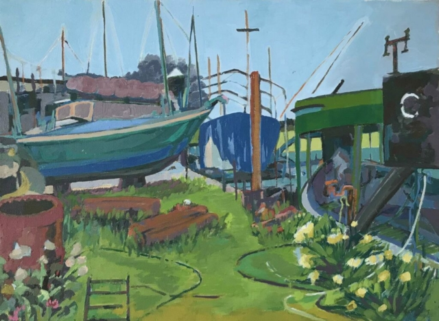 Artwork details: Lisa Hawkins 'Faversham Boatyard' 56cm x 41cm, £500
