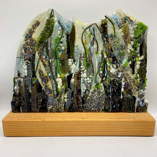 'Hidden Way' fused glass panel, 43cm x 33cm on oak stand