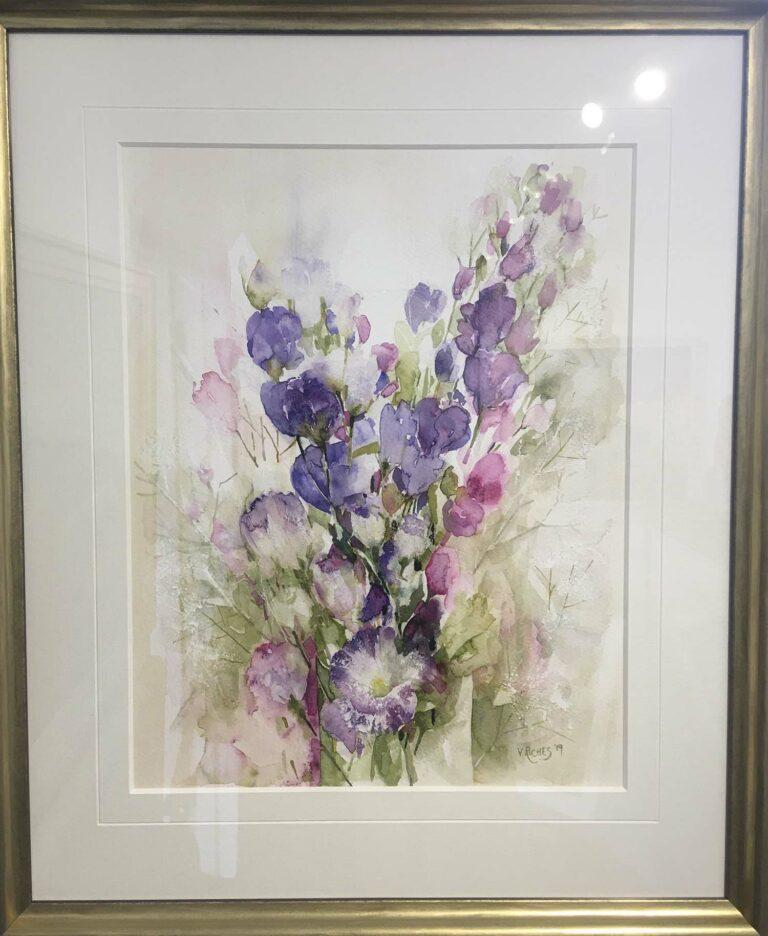 Artwork details: 'Lisianthus' watercolour, 49cm x 59cm, £525