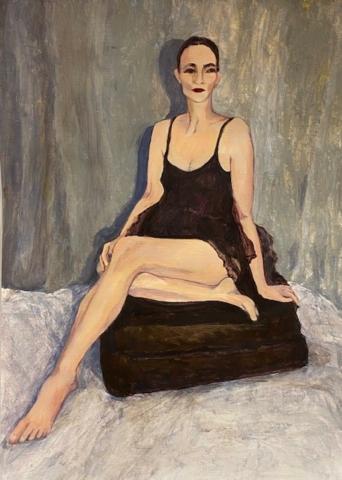 'Louise (A little bit Rigo)' acrylic on paper, painting A3, mount 40cm x 50cm, unframed