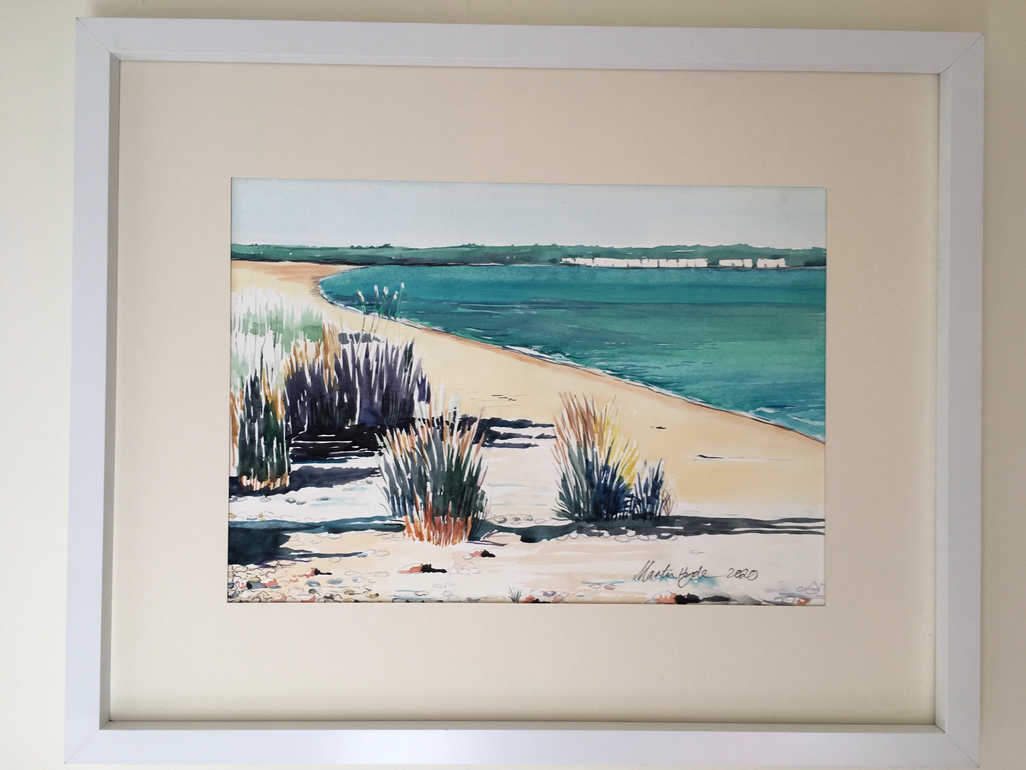 'Marram Grass, Sandwich Bay' framed, original water colour, 55cm x 44cm, £225
