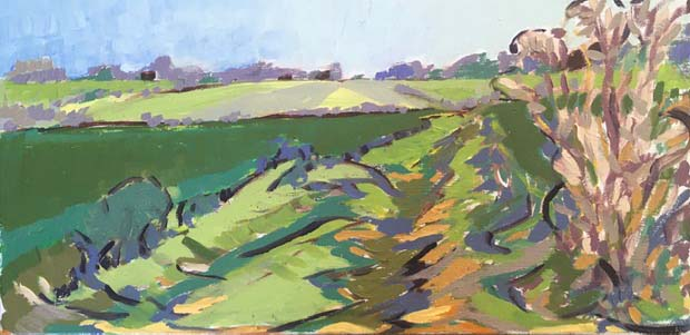 'Path Near Fields' oil on board, 36cm x 18cm, £300