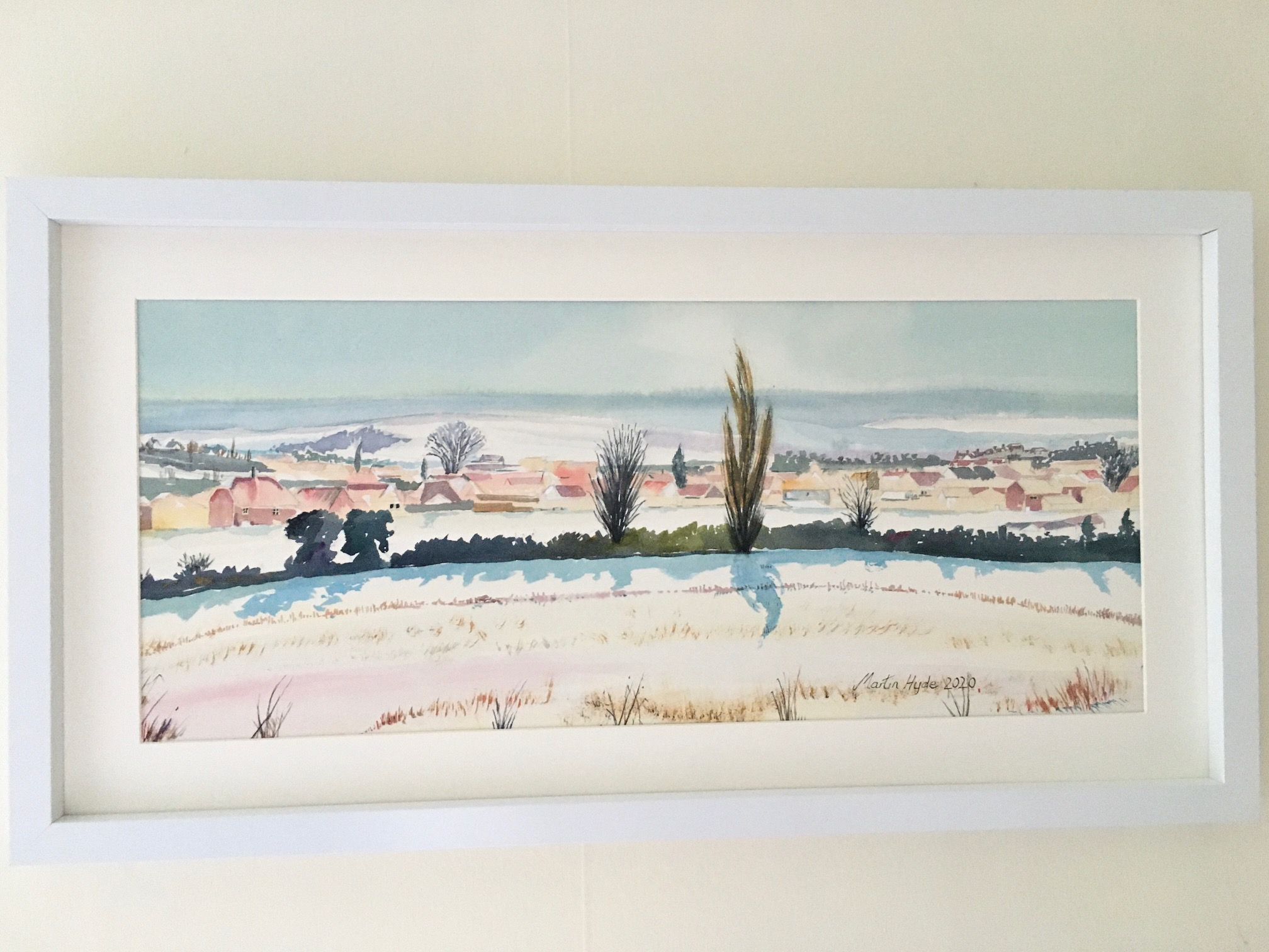 'Poplar Tree in Winter, Stuppington Lane, Canterbury' framed, original water colour, 64cm x 34cm, £225