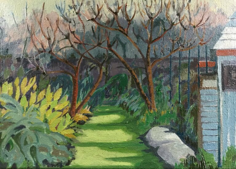 'Winter Trees in Allotment' 26cm x 26cmx £300