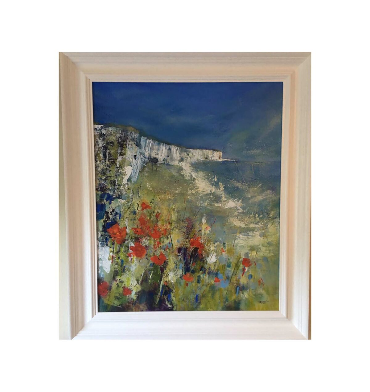 Artwork details: 'Seaside Poppies' acrylic on board, £595